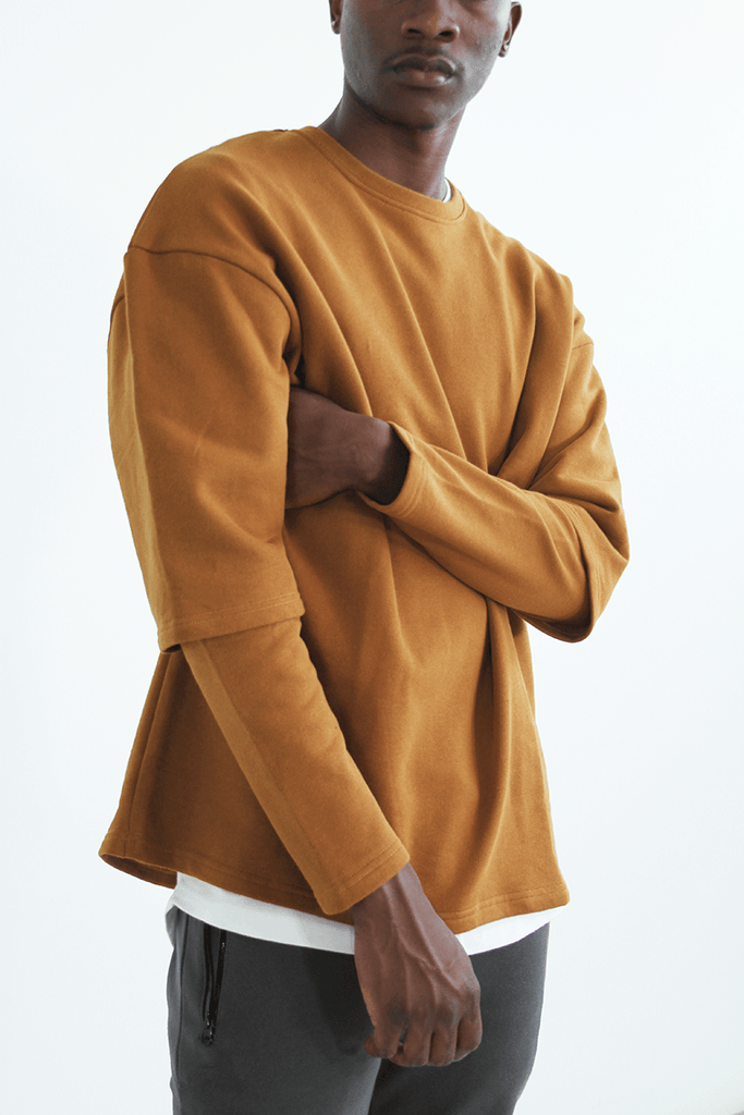 Oversized Double Sleeve Crewneck - Burnt Sienna