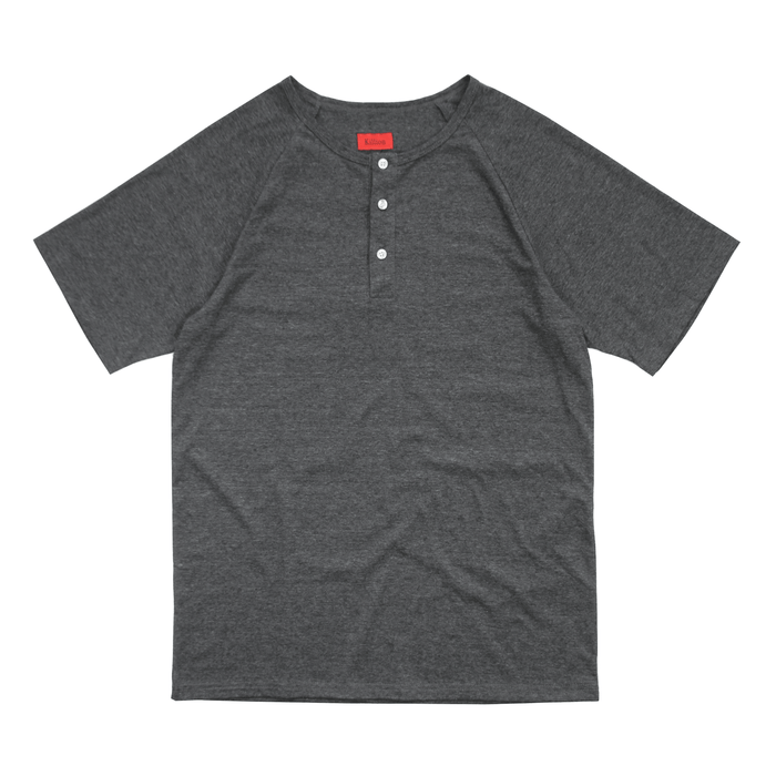 Raglan Flat-Hem Henley - Charcoal Heather