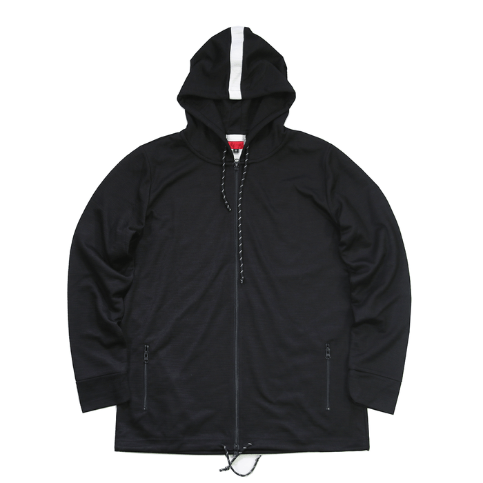 Back Stripe Tech Zip-Up Hoodie - Black