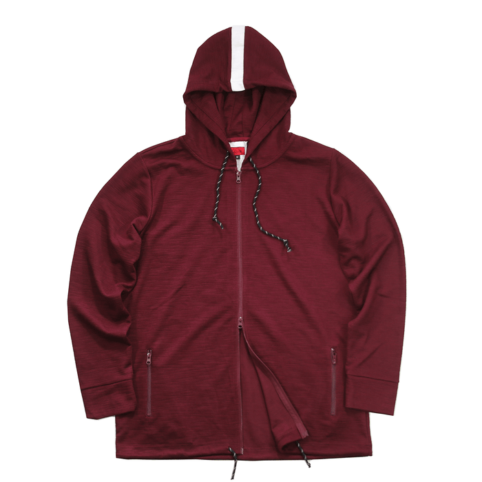 Back Stripe Tech Zip-Up Hoodie - Maroon