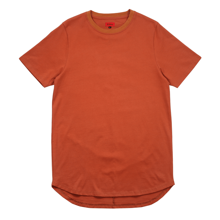 Premium Scallop Extended Tee - Rust