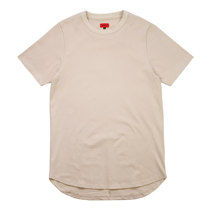 Premium Scallop Extended Tee - Sand