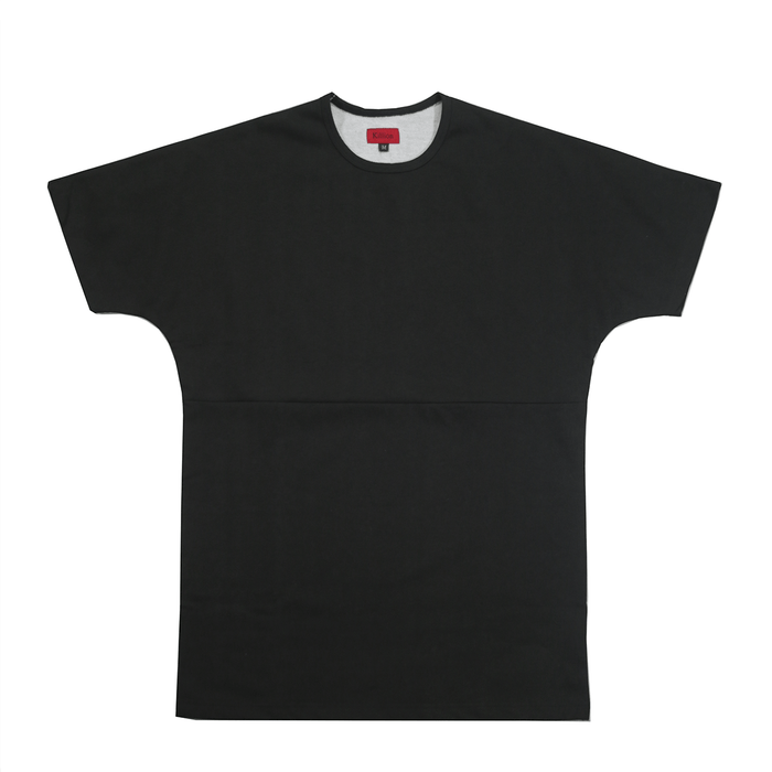 Textured Split Tee - Black