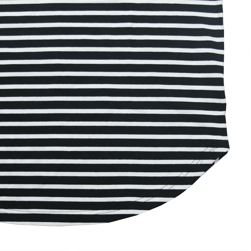 Scoop Striped Scalloped Shirt - Black/White (02.06.19 RELEASE)