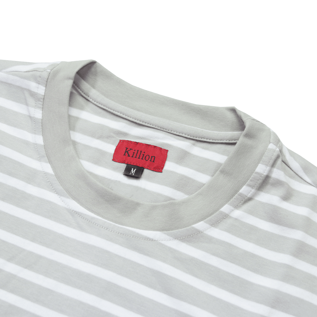 Scoop Striped Shirt - Light Grey/White