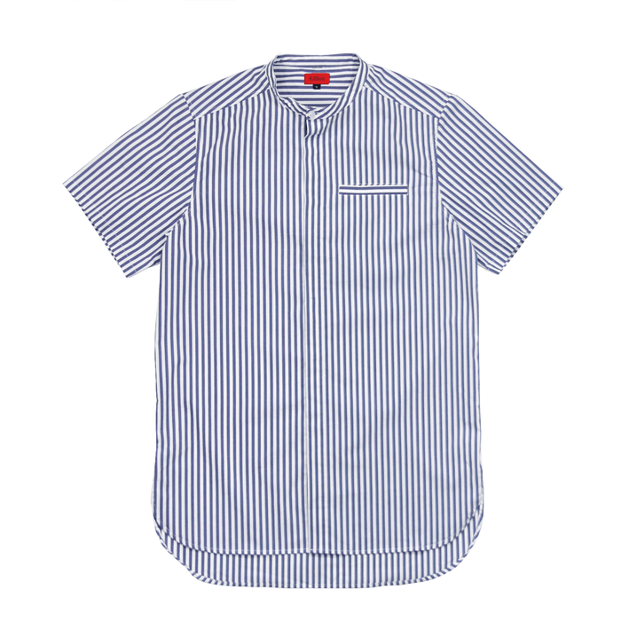 Striped Short Sleeve Grandad Top