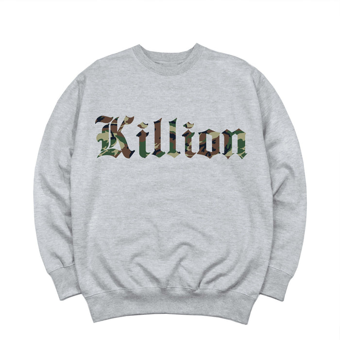 Camo English Crewneck - Heather Grey