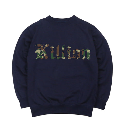 Camo English Crewneck - Navy