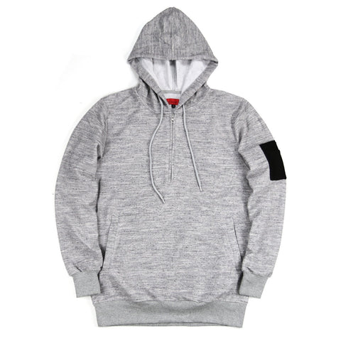Wool Half Zip Pullover Hoody - Grey