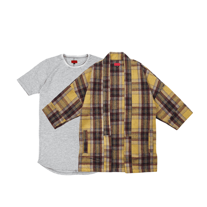 Flannel Kimono Brown / SI-12 Heather Grey