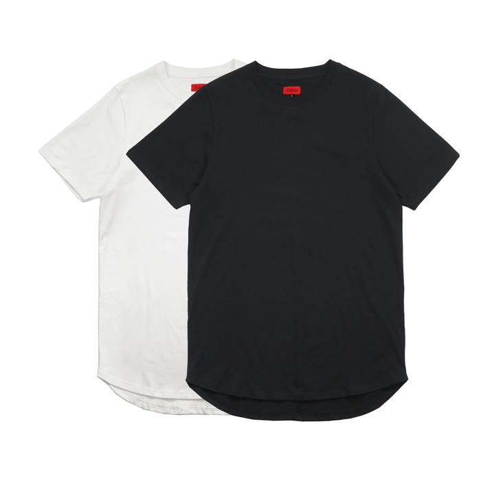 2-Pack Premium Scallop Extended Tee - Black/Natural