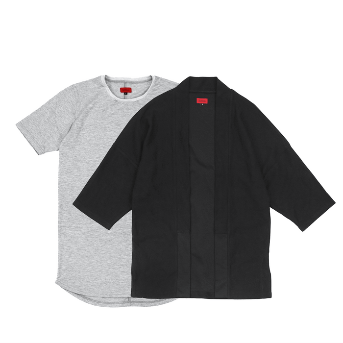 SI Reverse Terry Kimono Black / SI-12 Heather Grey
