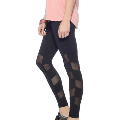 Alternating Panel Leggings - Black