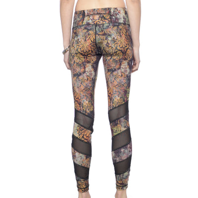 Alternating Panel Leggings - Golden Wilderness print