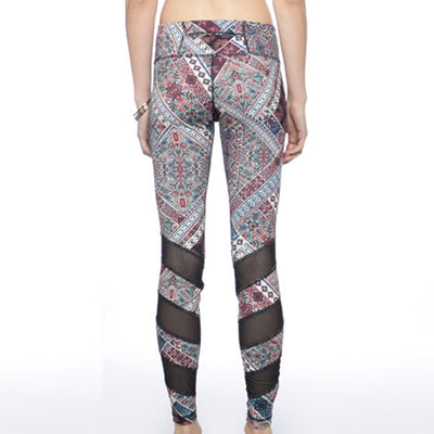 Alternating Panel Leggings - Journey print