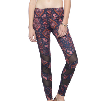 Alternating Panel Leggings - Royal Opulence print