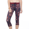 Drawstring Capri Leggings - Royal Opulence print