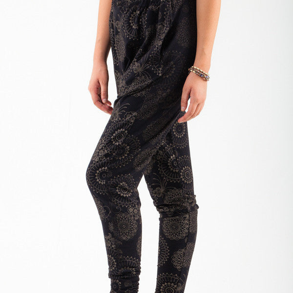 Drop Crotch Pants with Metallic Gold Print