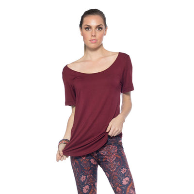 Scoop Neck Tee - Maroon