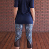 Color Block Mesh Capris - Tribal Blues