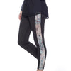 Vegan Suede Tuxedo Leggings - Black with Misty Wilderness print