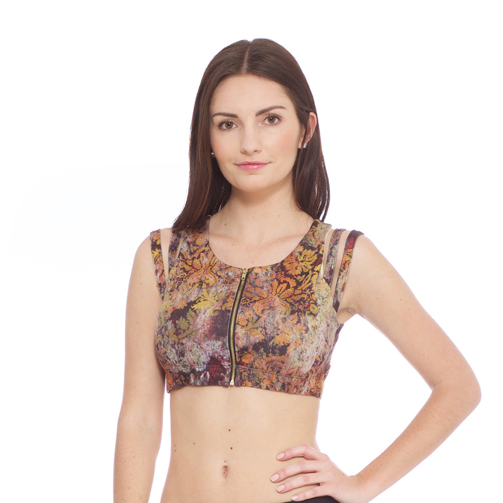 55394aa70e7 Zip Front Sports Bra - Golden Wilderness print