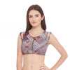 Zip Front Sports Bra - Journey print