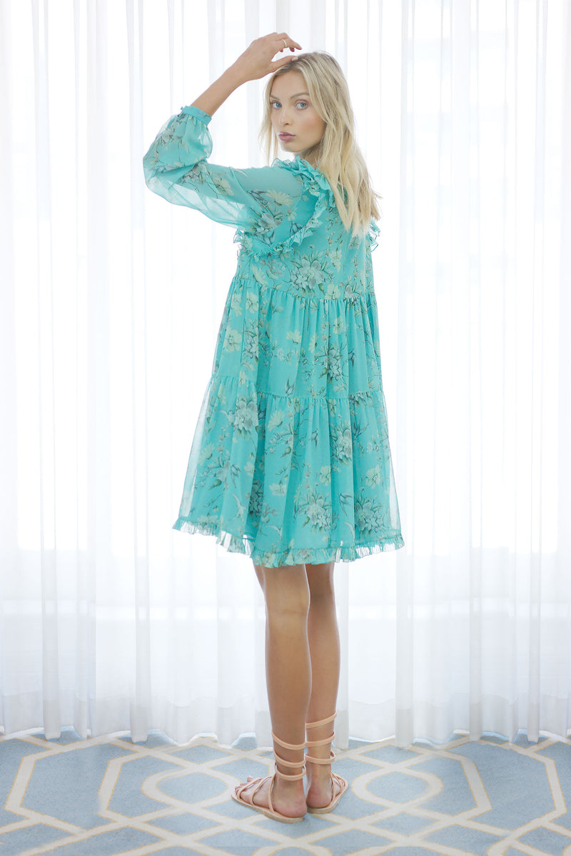 Songbird Ruffle Dress in Biscay Green