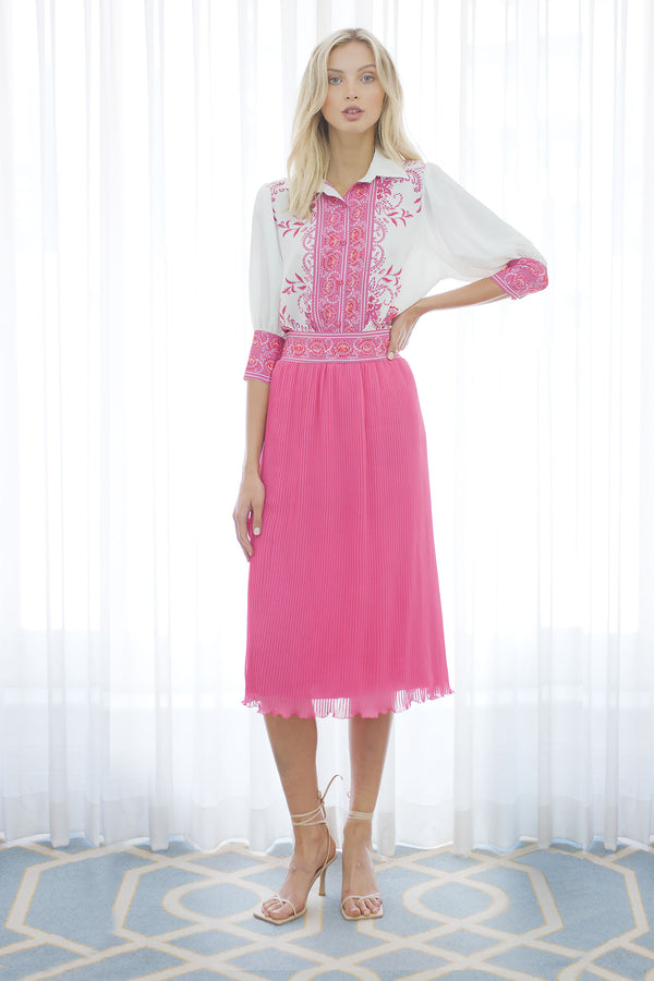 The Lover Pleated Skirt in Fuchsia