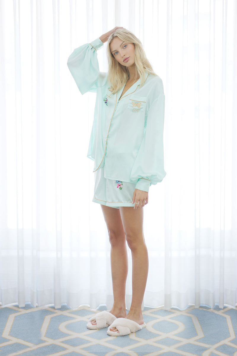 Seraphina Silk Pyjama Short in Mint