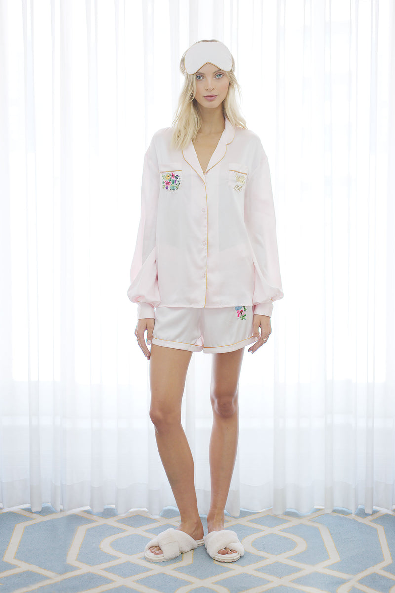 Seraphina Silk Pyjama Short in Pink
