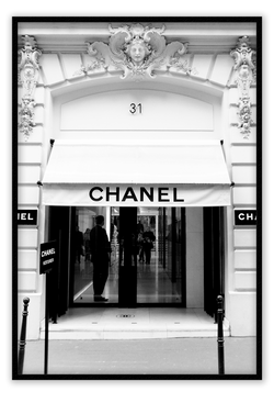 Chanel Boutique store picture image framed art print wall black white