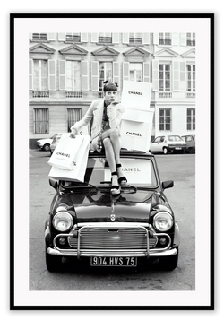 Black And White Vintage Fashion Fashion Lady Chanel Shopping Bags Riding Vintage Car Fiat European City Urban Europe Print