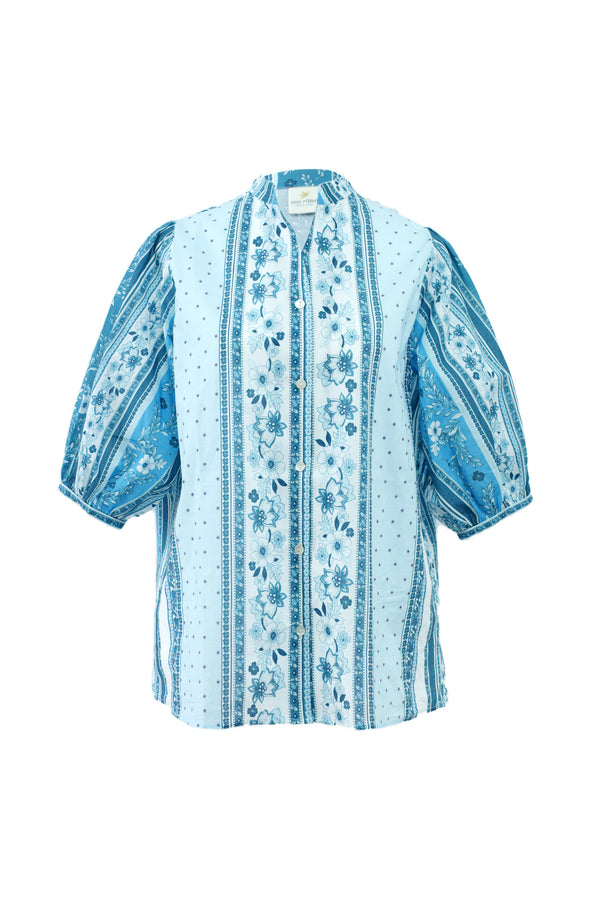 Cici Cotton Blue Blouse