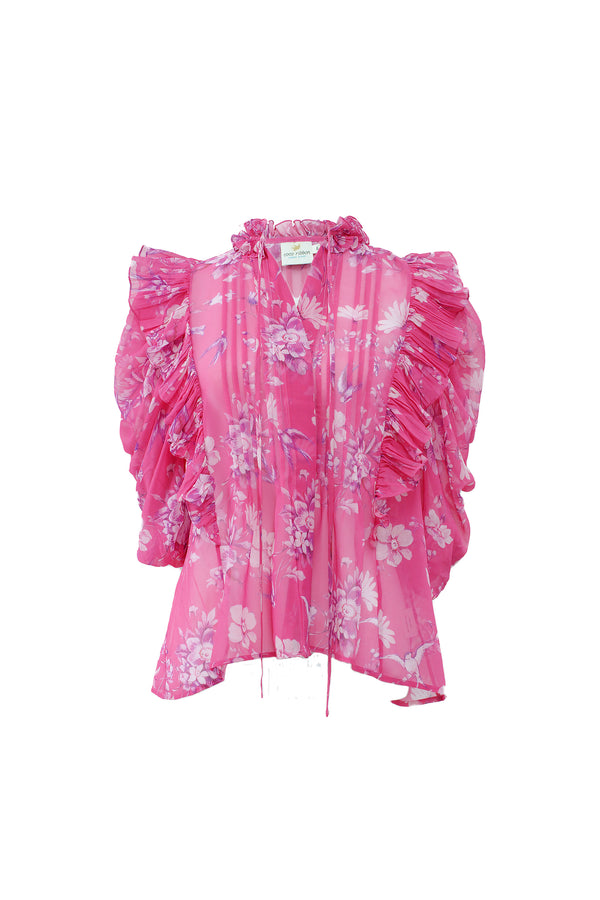Songbird Ruffle Blouse in Fuchsia