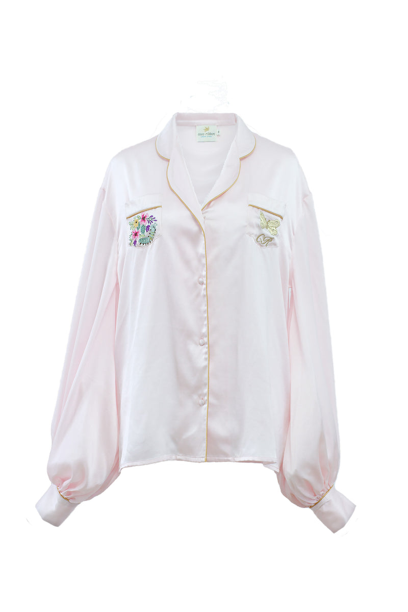 Seraphina Embroidery Pyjama Shirt in Pink