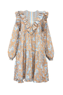 Serendipity Chinoiserie Ruffle Dress