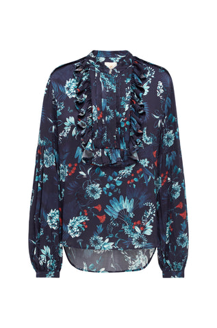 Navy Berry Print Ruffle Blouse