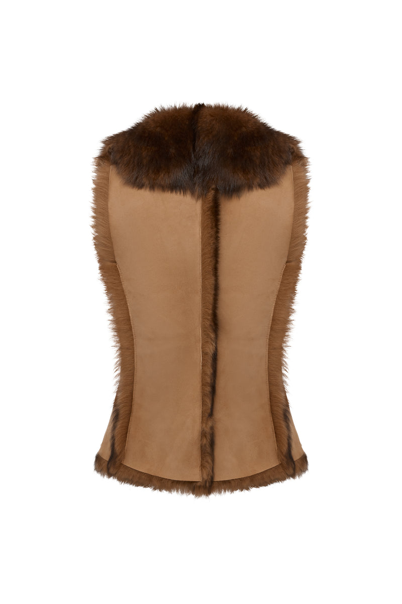 Classic Toscana Shearling Gilet in Mottled Brown