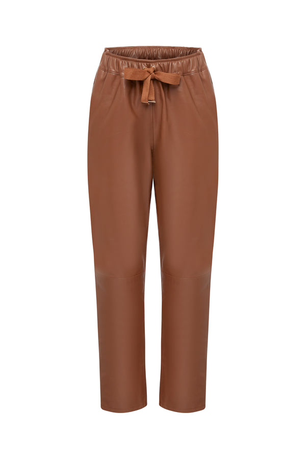 Caramel Relaxed Leather Pants