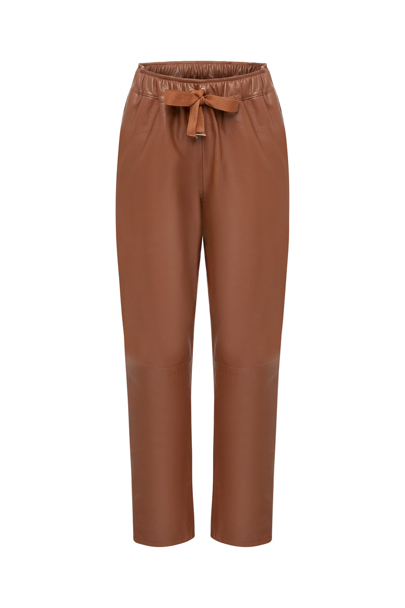 Coco Ribbon Caramel or Mustard Relaxed Leather Pants