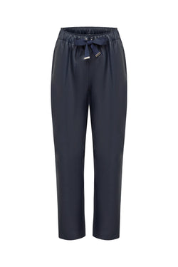 Coco Ribbon Navy Relaxed Leather Pants