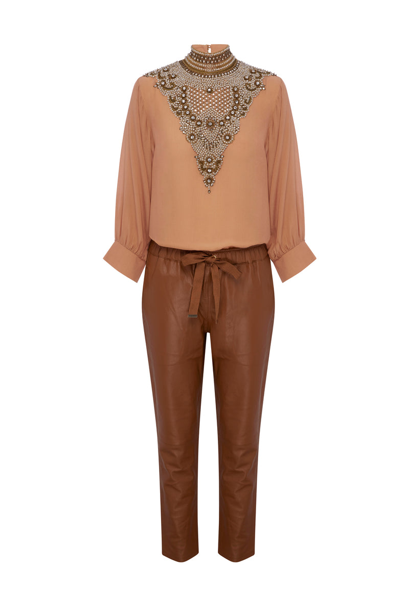 Coco Ribbon Caramel Classic Relaxed Leather Pants