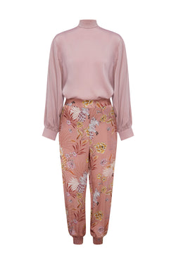 Painterly Silk Pants in Blush Floral