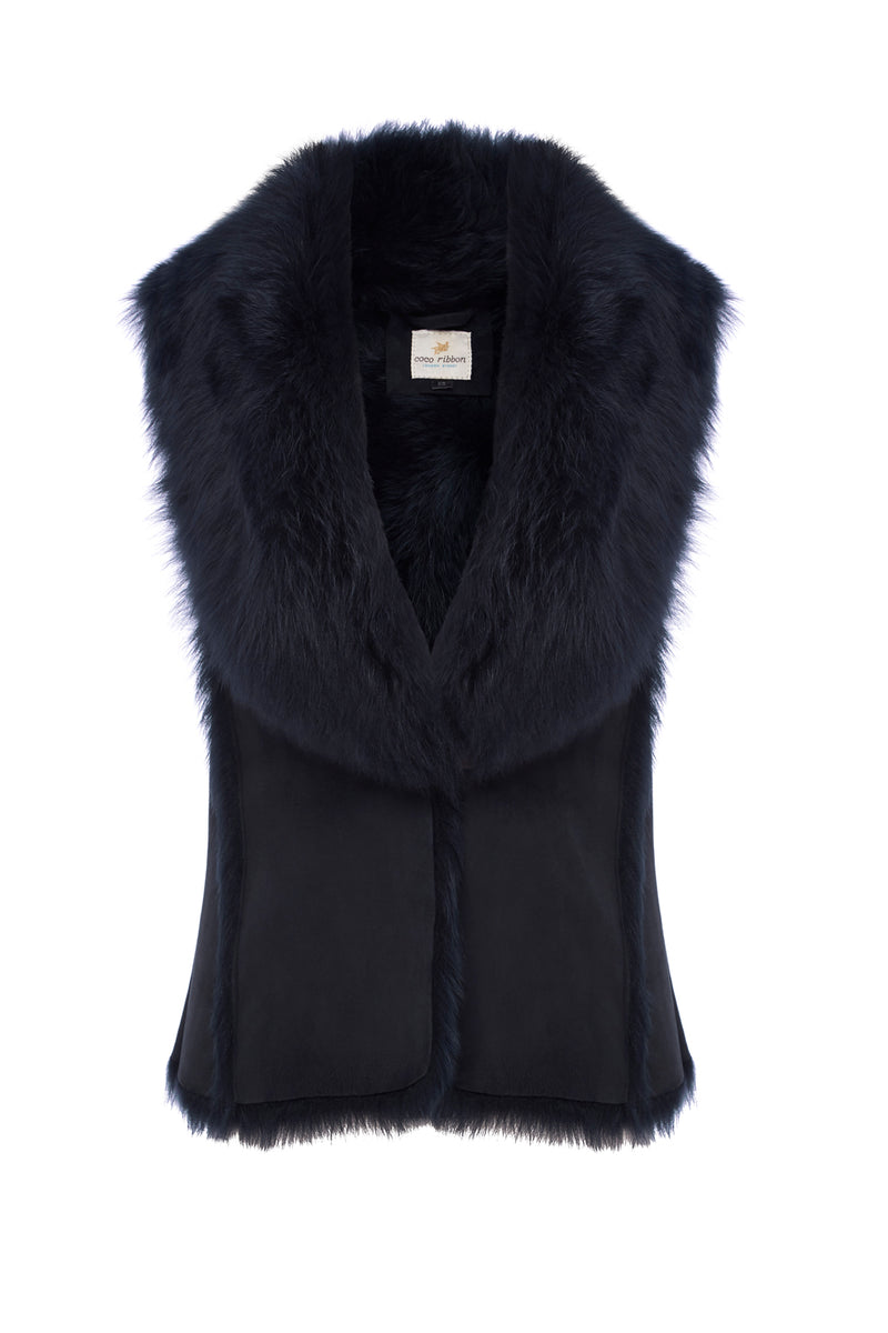 Classic Toscana Shearling Gilet in Navy