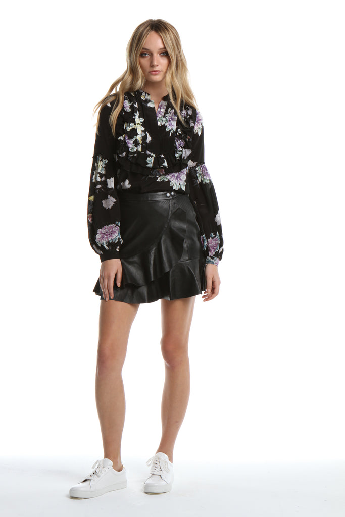Ruffle Blouse in Black Chinoiserie
