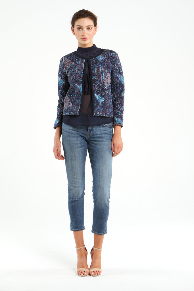 Quilted Jacket in Blue Floral