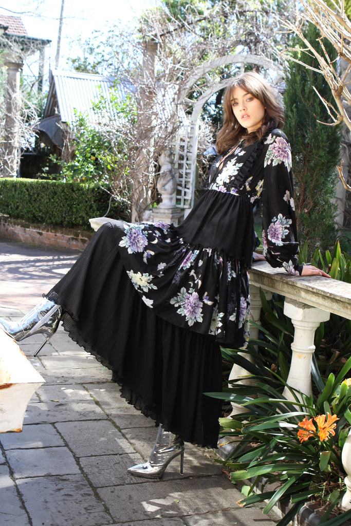 Maxi Dress in Black Chinoiserie
