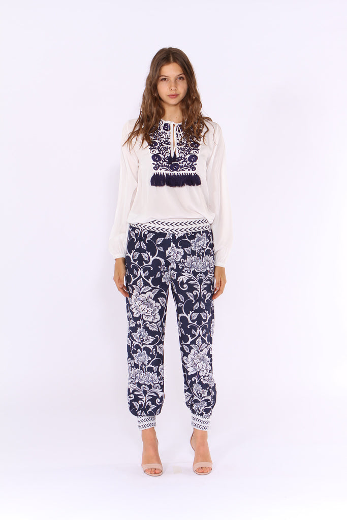 Harem Pant in Asian Fusion Navy