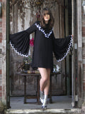 Dress with Flare Sleeves in Black